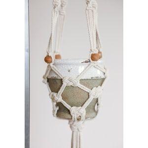 🆕 White Macrame Hanging Pot Plant Holder NEW
